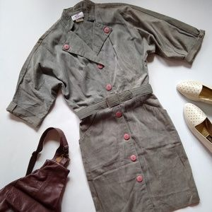 Vintage gray/olive button front belted dress